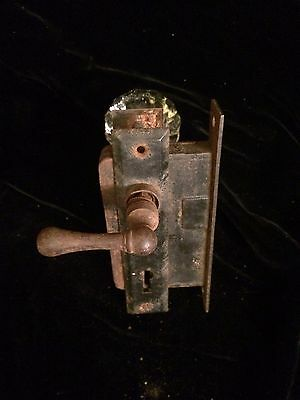 Antique Glass/Crystal Door Knob with Russwin Lock and Metal Handle