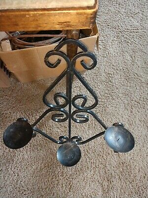 Vintage Gothic Medieval Wrought Iron Triple  Arm Candelabra Wall Sconce Fixture 2