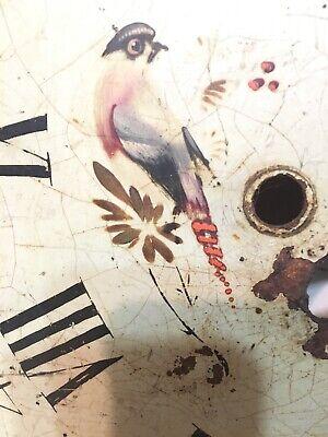 Antique Tall Case Clock Face Dial Folk Art Decorated Birds Blue Jays Flowers 4