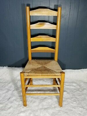 Antique Shaker Style Ladder Back Accent Chair Woven Seat (2 available) 9