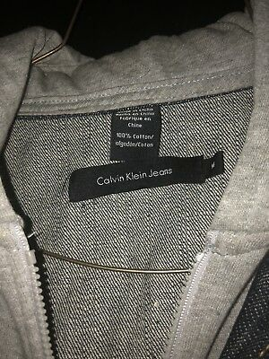 Boys Calvin Klein Jean Jacket Hoodie Size M Used With Stain/damage On Grey Hood 6