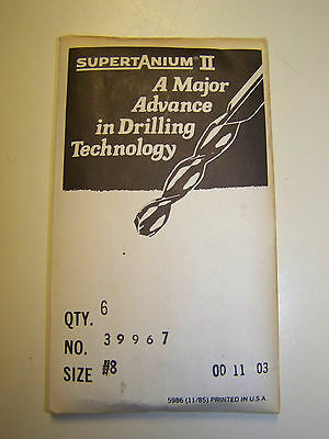 Number 8 HSS Supertanium II Drill Bit by Lawson Products USA No NOS #8 8