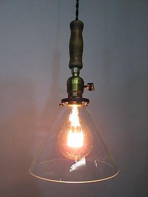 """Vintage Industrial Drop Pendant Light Wooden Handle Scientific Cone Shade 13"""" 3"""