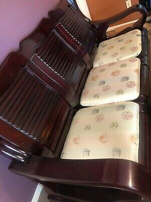 Antique Oriental Furniture Mahogany Couch w Five Seats and Coffee Table 4