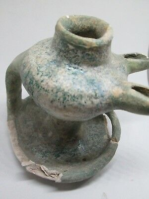 OIL LAMP ANTIQUE BLUE 2 FLAMES POTTERY ISLAMIC MIDDLE EAST 15th CENTURY RESTORED 5