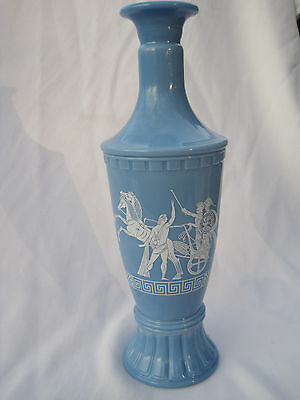 Light Blue Decanter / Urn / Bottle with Greek Horse and Chariot Theme 8