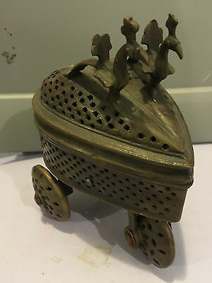 unknown ANTIQUE BRASS RELIGIOUS INCENSE TROLLEY  EUROPE 4