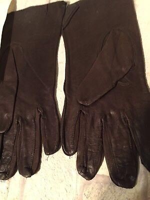 Vintage UNUSED Ladies Dark BROWN Fine Leather Gloves Duragluv Yeovil & Letter 2