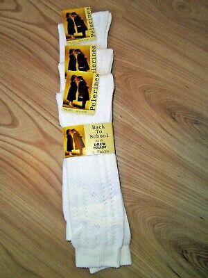 Girls White Pelerine 3/4 High Patterned Socks School Uniform Toddler Lot 3,6,12 5