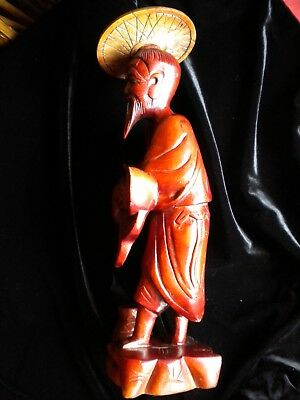 """Vintage - Asian Man With Fish - Wood Carving 13+"""" - ? Cherry Wood ?"""