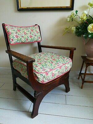 Rare Antique Arts & Crafts Oak Chair Liberty Style X frame bentwood Unique. 7