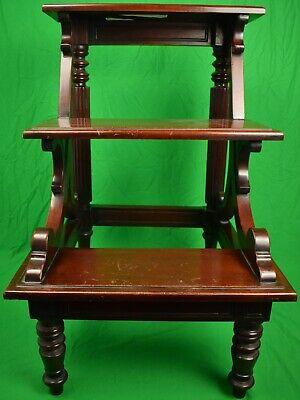 English Mahogany 19th Century Library 3 Step Ladder Ex- Holland & Holland 2