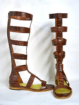 aea464ceeb36a ... Sandali Stivali Gladiatore Per Donna Made In Italy Su Misura Vera Pelle  E Cuoio 2