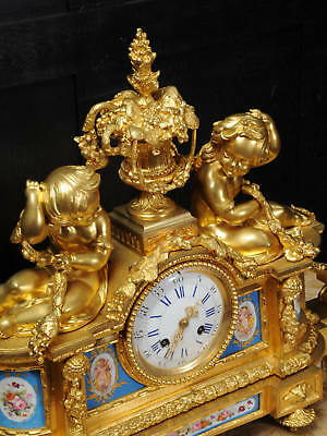 Large Antique French Ormolu And Sevres Porcelain Clock Cherubs Stunning 1850 11