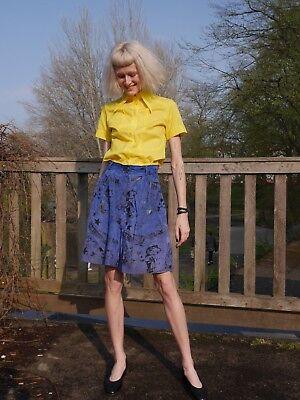 Lederhose S M Hosenrock 90er royalblau Print TRUE VINTAGE 90s leather culottes