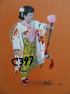 "A847     Original Acrylic Aceo Painting By Ljh ""Folk Art Cat"" 9"