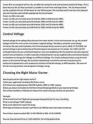 Elimia DOL 23-32-240LC 10 HP 3-Phase 240V Magnetic Motor Starter Nema 4X NEW!