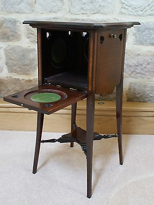Antique Side Table Inlaid Mahogany Sweetheart Tapered Legs Fold Out Sides Rare 5