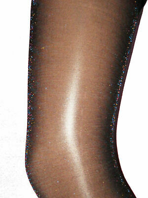 Rainbow Glitter Girls Black Tights. Age 6 7 8 9 10 sparkly party 3