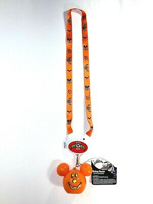 Disney Parks Halloween 2019 Light Up Mickey Mouse Pumpkin Glow Lanyard New 2