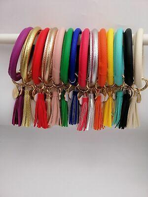PU Leather O Key Chain Circle Cute Tassel Wristlet Keychain Key Ring Bangle 2