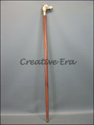 Antique Style Horse VINTAGE Victorian Brass Head Handle Wooden Walking Cane Gift 2