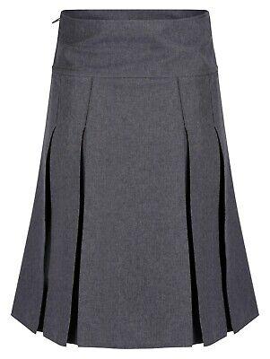 Girls Pleated School Skirt Navy Grey Black Long Short Regular Length 16 18 20 22 4