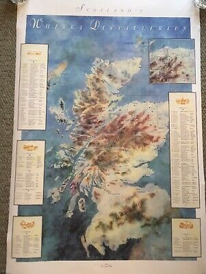 Scotch Whisky 1991 Map Of Distilleries Of Scotland. 2