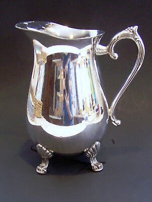 Handcrafted Silver Plated 4 Footed Guard Lip Ornate Water Beverage Pitcher EUC 4