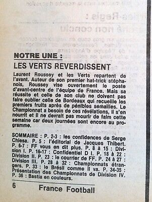 France Football 26/8/1980; Serge Chiesa/ Les vert reverdissent/ Bordeaux/ Brésil 2