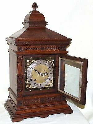 Antique Oak TING TANG Bracket Mantel Clock  Winterhalder & Hoffmeier W & H (a11) 6