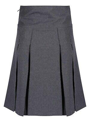 Girls Pleated School Skirt Navy Grey Black Long Short Regular Length 16 18 20 22 5