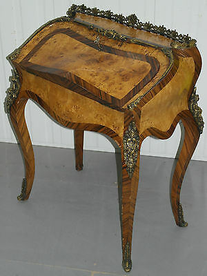 Stunning Antique French Bureau De Dame Burr Walnut & Kings Wood Writing Desk 3