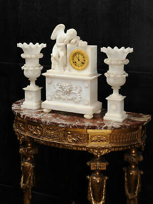 Early Antique French Alabaster Clock Set Cupid Menacing Love C1820 2