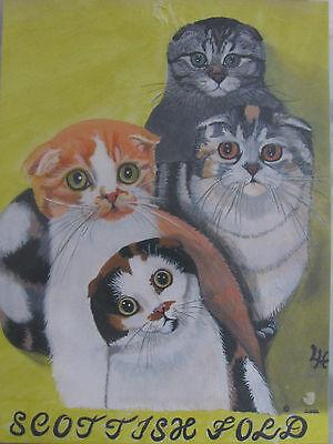 "C305   Original Acrylic Painting By Ljh  ""Bosco""  Cat Kitten 7"
