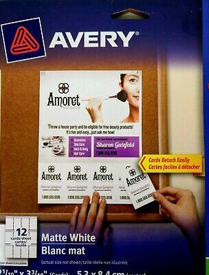 Avery Tear-Away Card Flyers - Mate White AVE16151 -  5 Flyers 120 Cards Ink-Jet 6