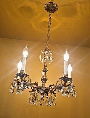 Chandeliers, Sconces & Lighting Fixtures Systematic Vtg Art Deco 4 Bulb Chandelier Light Fixture Cast Metal Bronze Finish As Is