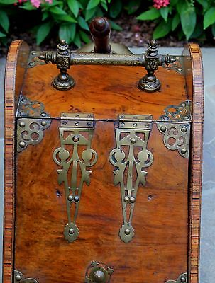 Antique French Burled & Inlaid Walnut Fireplace Hearth Coal Hod Scuttle Shovel 7