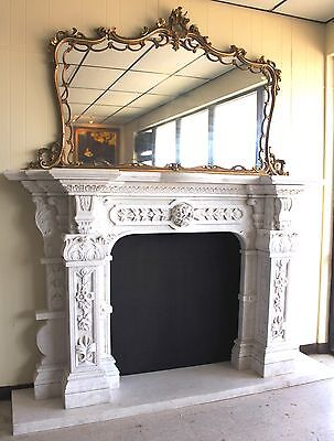 Hand Carved Carerra Marble Country French Monumental Fireplace Mantel Columns 4