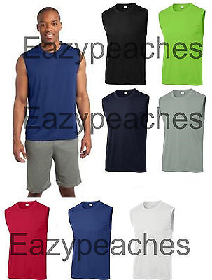 b107da1a ... SPORT TEK SLEEVELESS Moisture dri fit Wick MUSCLE T-shirts Mens Size  S-4XL
