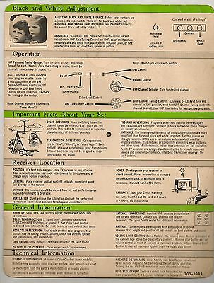 Zenith Color TV Operating Instructions SPIN Wheel 1950's 2