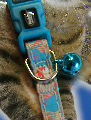 Designer Safety Cat Collar Teal With Hearts Design Heart Charm Bell & Id Tag 2