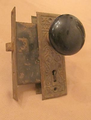 set 2 antique ornate brass iron glass door handle knob hardware back plate old 4