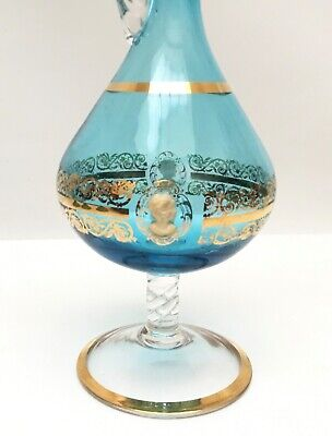 Vintage Bohemian/Victorian Glass Wine Decanter Pitcher Cameo Gold Gilt 4