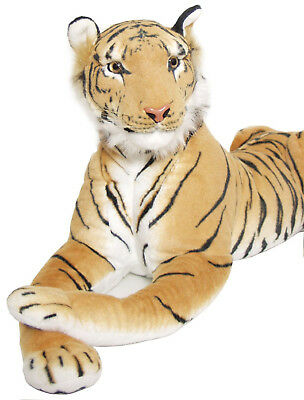 "BRUBAKER Huge XL Tiger White Brown 35/"" Fangs Life-like Soft Toy Stuffed Animal"