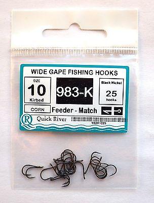 FEEDER MATCH KIRBED FISHING HOOKS Size #12 #10 №983-K Black Nickel 25/50 hooks 3