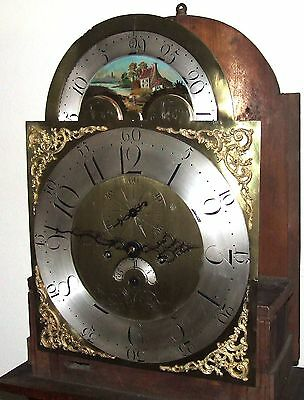 Antique Rolling Moon Oak & Mahogany Longcase Grandfather Clock MOYLE CHESTER 5