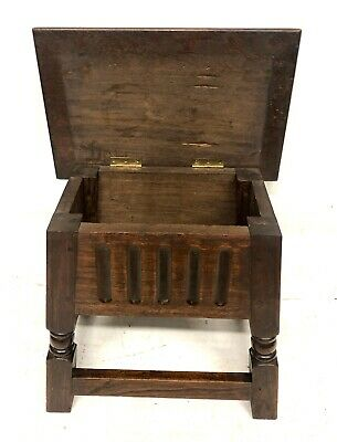 Antique Carved Oak Joint Stool Slipper Box / Occasional Table / Lamp Stand 11