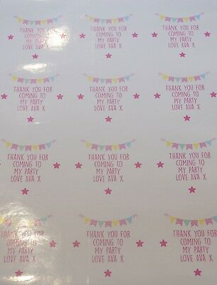 35 x Personalised Birthday Thank You Pink Bunting Party Bag Stickers Wedding 432