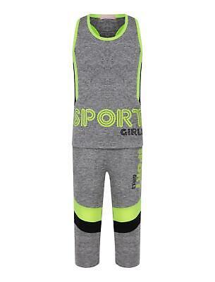 Girls Sports Vest Tank Top Neon Camouflage Striped Leggings Yoga Set 3-14 Years 2